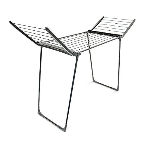 Relaxdays 10018861 Séchoir à Linge sur Pieds Pliable Plastique 13 m, noir, 104 x 169 x 54,5 cm