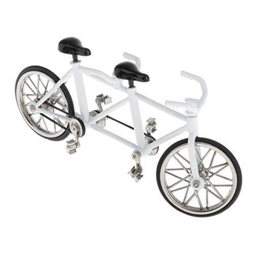 CUTICATE 1:16 Fahrradmodell Miniatur Legierung Tandem Fahrrad Modell, Tolles Geschenkidee für Fahrradfahrer - Weiß