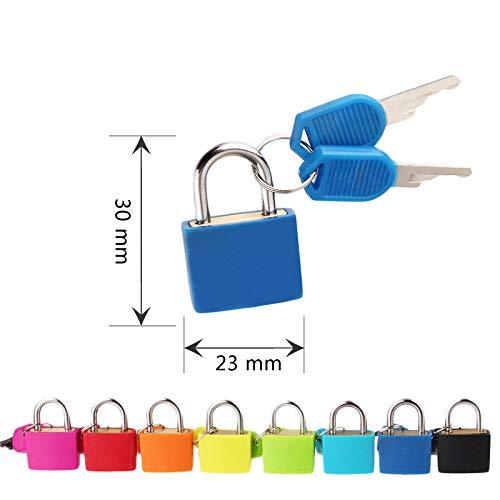 Gshy Kleines Vorhängeschloss Kunststoff Neon mit zwei Schlüsseln für Gepäck, Koffer, Leuchttüten, 2 Stück, Farbe zufällig