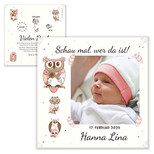 Unser-Festtag Schau mal wer da ist Kleines Mädchen Dankeskarte Geburt Danksagung bedanken mit Baby-Foto, Text änderbar - 90 Karten