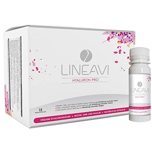 LINEAVI Hyaluron Pro, Anti-Aging Beauty Drink mit veganer Hyaluronsäure, mit Zink, Biotin und Niacin zur Erhaltung normaler Haut, Haare und Nägel, in Deutschland hergestellt, 15 Trinkfläschchen