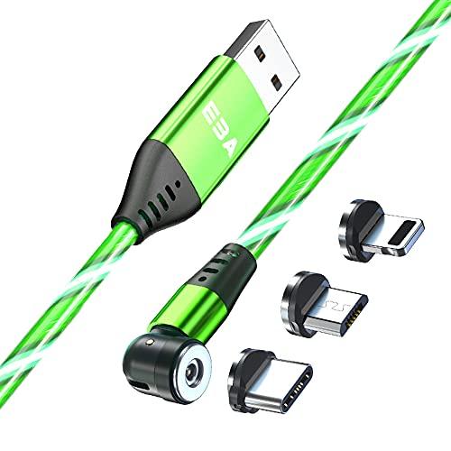EBA Fluido LED Cable de carga magnético 1M 540° 2.4A Carga Rápida Magnética Cable USB Visible Multicolor 3 en 1 Cable Magnético para Android, Micro USB, Tipo C, Smartphone Tableta (Verde)