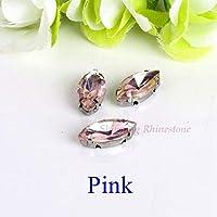 靴の目/葉の形のガラス縫い服の石の金属ベースのバックルの服を縫う liuqiangriben (Color : ピンク, Size : 4x8mm 50pcs)