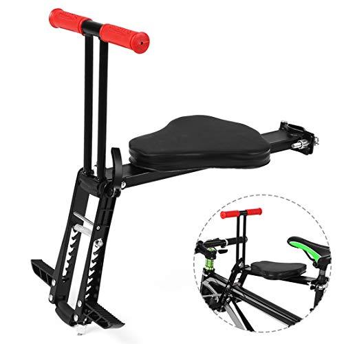 Dittzz Seggiolino Bici Anteriore per Bambini, Pieghevole Seggiolino Bicicletta con Pedali e Maniglia per Mountain Bike Bicicletta Elettrica, Max 25KG