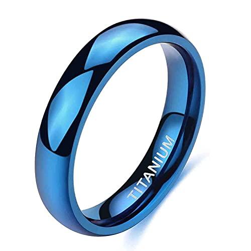 Zakk Anillos para hombre y mujer, de titanio, color azul, estrechos, pulidos, anillos de compromiso, alianzas, 2 mm, 4 mm, Titanio.,