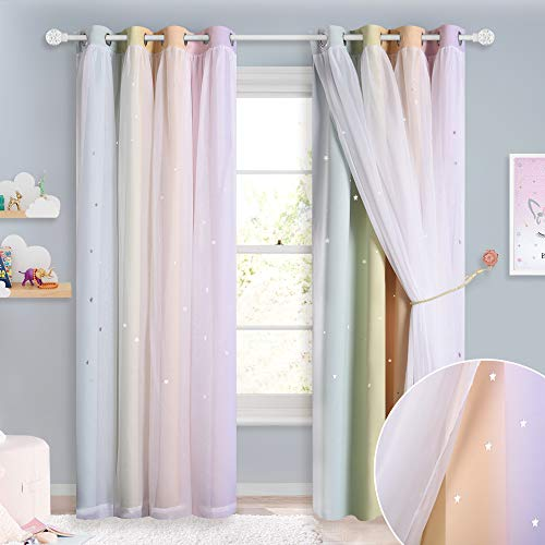 NICETOWN Rainbow Star Curtains for Girls Bedroom, Double Layer Colorful Stripes Kids Blackout Curtains Plus White Sheer Livingroom Window Curtains (Rainbow, W52 x L84, Sold by 2)