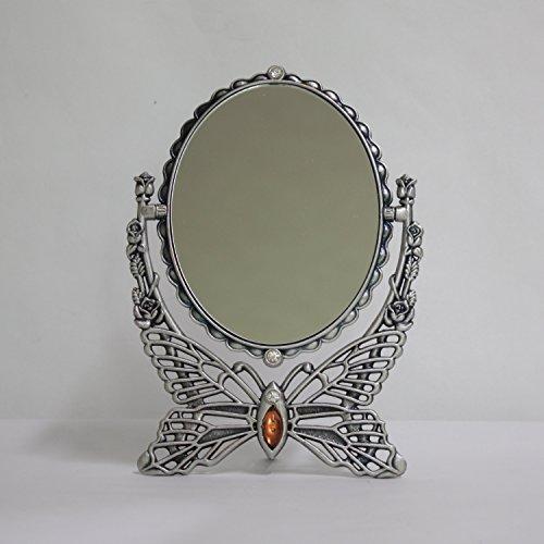 SEHAMANO Home Sehamano - Espejo de Mesa de Maquillaje con Marco de Metal, Diseño Vintage de Mariposas Antiguas, Espejo Decorativo Ovalado, Espejo retrovisor de Doble Cara Giratorio