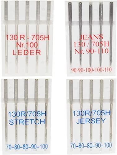 BIG-SAM 20 Nähmaschinennadeln für Jersey, Leder, Stretch und Jeans | 5 Nadeln je Sorte | Flachkolben | für Haushaltsnähmaschinen