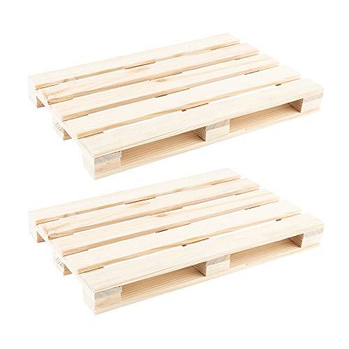 Ideen mit Herz Mini-Paletten | kleine Deko-Paletten aus Holz | ideal zum Basteln, DIY oder als Untersetzer für Getränke (24 x 16 x 2,5 cm | 2 Stück)
