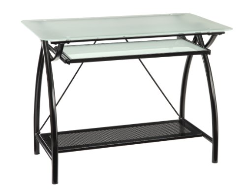 OSP Home Furnishings Newport Computer Desk with Frosted Tempered Glass Top, Pullout Keyboard Tray, and Black Powder Coated Steel Frame