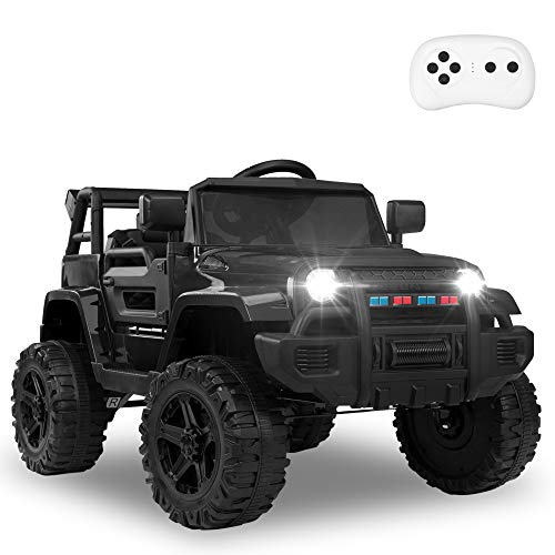 JOYMOR Ride on Truck with Remote Control, 4 Wheels 12V Battery Powered Kids Car, with LED Headlight/Horn Button/ MP3 Player/USB Port/ Forward Backward/Kids Girl Boy (Black)