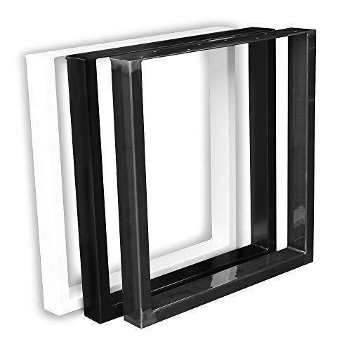 1 Paar (2 Stück) BestLoft Kufen – Tischkufen im Industriedesign aus Rohstahl (60x72cm, Schwarz Pulverbeschichtet)