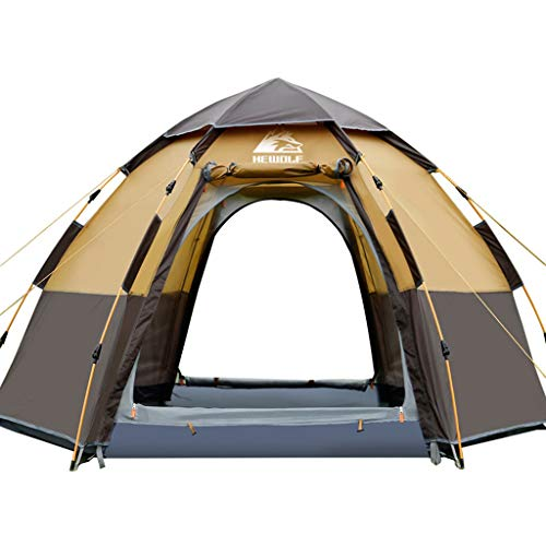 Outer hexagon, 6 to 8 man Festival tent, Quick opening double layer with full standing head height, Combination of inside and outside tents,waterproof Family Camping Tent with