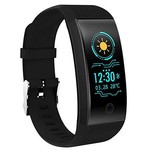 Wsaman Podómetro Pulsera Actividad Inteligente, IP68 Impermeable Reloj Deportivo con Pulsómetro Monitor de Sueño para Hombre Mujer Niño, Pulsera de Fitness,Negro