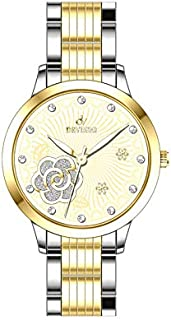 women's analog watch stainless steel silver with gold color water-resistant