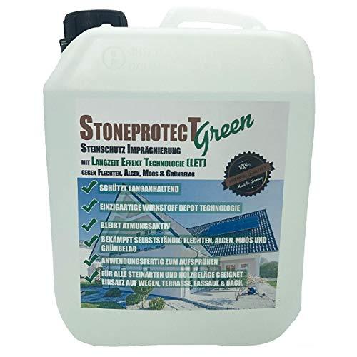 StoneprotecT SPGREEN Imprägnierung mit aktiver Langzeit Effekt Technologie gegen Grünbelag, Moos, Algen, Flechten, Schmutz 5L für bis zu 50m2