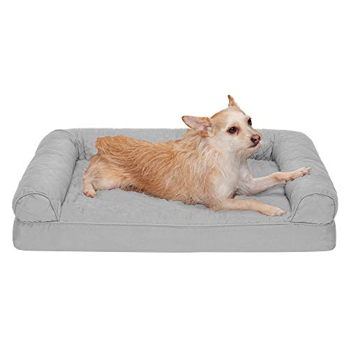 FurHaven Medium Quilted Orthopedic Sofa Pet Bed for Dogs and Cats, Silver Gray