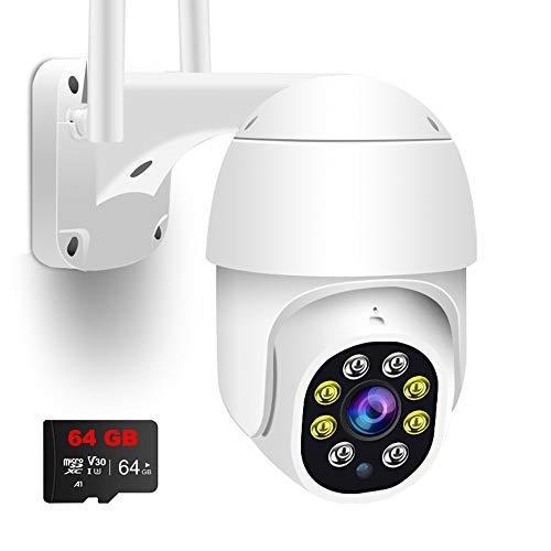 1080P Cámara vigilancia Exterior, Cámara IP WiFi con Visión Nocturna, IP66 a Prueba de Agua con Vista panorámica/inclinación de 360°, Detección de Movimiento Audio Bidireccional, Con tarjeta de 64GB
