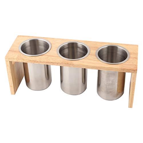 qingqingR Besteck Caddy mit Edelstahl Besteckhalter Küchenutensilien auf Holzbasis