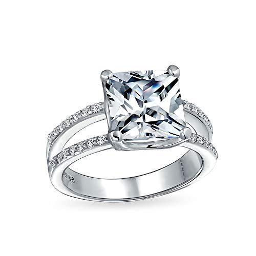 Bling Jewelry 3Ct Quadrat Prinzessin Geschnitten AAA Cz Verlobungsring Für Frauen Zirkonia Split Pflaster Schaft Band 925 Sterling Silber