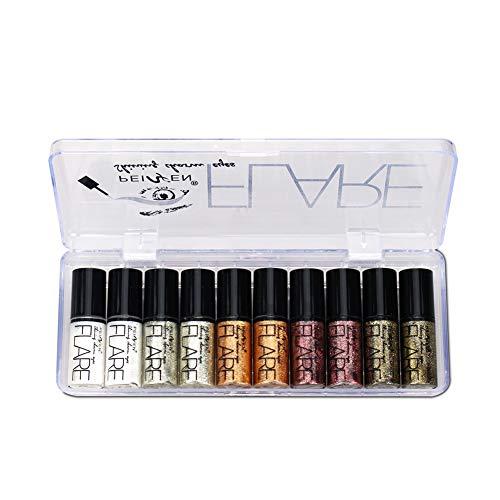 ColorfulLaVie 10 pièces diamant nacré ombre à paupières liquide, couché vers à soie larme brillant eyeliner liquide