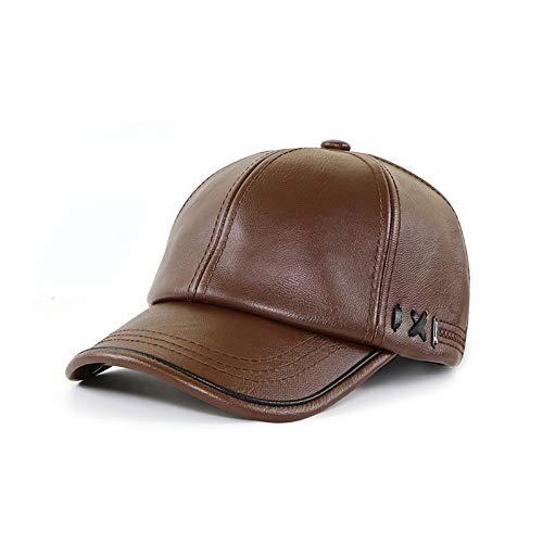 TJZY Pu Leather Baseball Cap Men Velvet Warm Outdoor Sun Hat Elder Fashion Autumn Winter Adjustable Caps Light Coffee