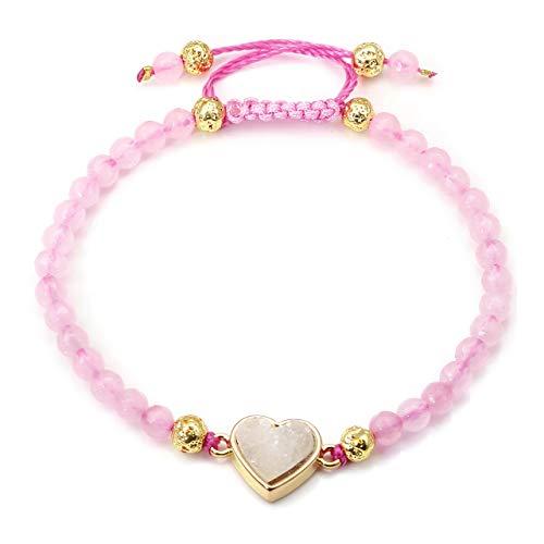 JSDDE Damen Edelstein Armband Vergolden Lavastein Perlenarmband Kristall Herz Heilung Energiearmband Verstellbar Armreif Rosenquarz