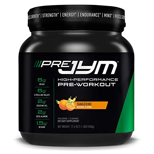 Pre JYM Pre Workout Powder - BCAAs, Creatine HCI, Citrulline Malate, Beta-Alanine, Betaine, and More | JYM Supplement Science | Tangerine Flavor, 20 Servings