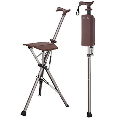 Ta-Da Chair Folding Aluminium Tripod Cane Chair Portable Walking Stick for Elderly Outdoor Travel Rest Stool Folding Chair (85cm) (Brown)