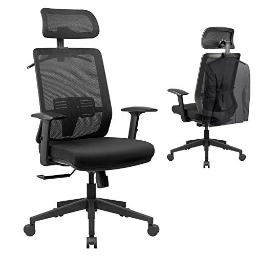 VICTONE Ergonomic Office Chair, Mesh Desk Chair with Adjustable Headrest and Armrest, High Back Computer Chair with Cozy Lumbar Support, Swivel Chair (Black)