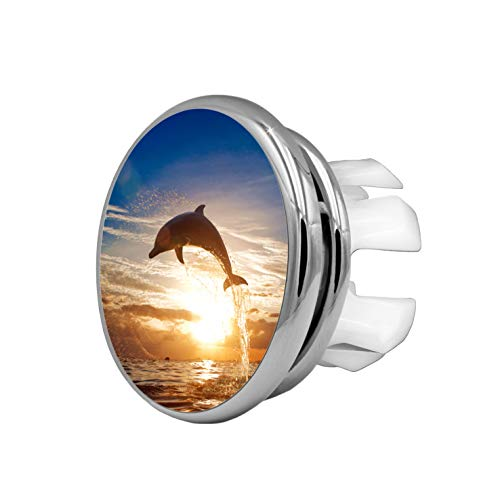 KNOPPO® 2er Set Waschbecken Design Überlauf Abdeckung, Überlaufblende, Überlaufrosette - Mirror Delphin Motiv (chrom)