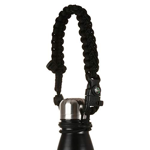 Manija para Botella de Agua Compatible con SHO, Chilly's, Swell, MIRA, Simple Modern y Otros Portabotellas/Transportador de Botella en Forma de Cola - Adecuado para 260ml-1000ml (Negro)