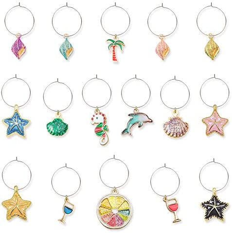 Colorful Beach Wine Charms Drink Glass Markers product image