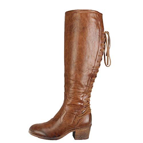 manadlian Bottines Cuir Femmes Chic Chaussures de Ville Hiver Longue Boots Lace-up Boots Confortable Bottes Santiags Zip Boots Sexy Western Escarpins Shoes 2020