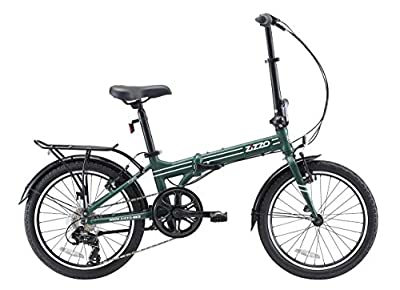 "EuroMini ZiZZO Heavy Duty Forte 28lb Folding Bike-Lightweight Aluminum Frame Genuine Shimano 7-Speed 20"" Folding Bike with Fenders, Rack and 300 lb. Weight Limit (Forest Green)"