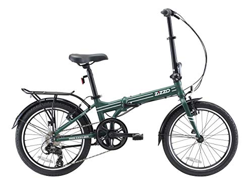 EuroMini ZiZZO Heavy Duty Forte 28lb Folding Bike-Lightweight Aluminum Frame Genuine Shimano 7-Speed 20' Folding Bike with Fenders, Rack and 300 lb. Weight Limit (Forest Green)