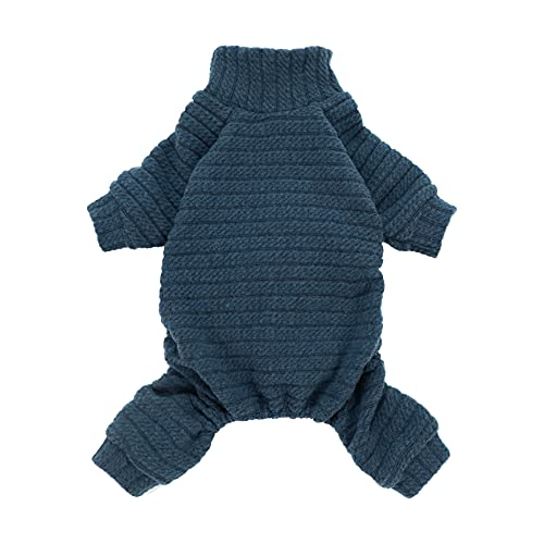 Fitwarm Turtleneck Knitted Dog Sweater Puppy Pajamas Thermal Doggie Winter Clothes Knitwear Pet Coats Cat Apparel Blue X-Large