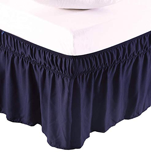Xuvet Wrap Around Elastic Solid Bed Skirt, Easy On/Easy Off Dust Ruffled Bed Skirts 16 Inch Tailored Drop (Navy Blue, King)