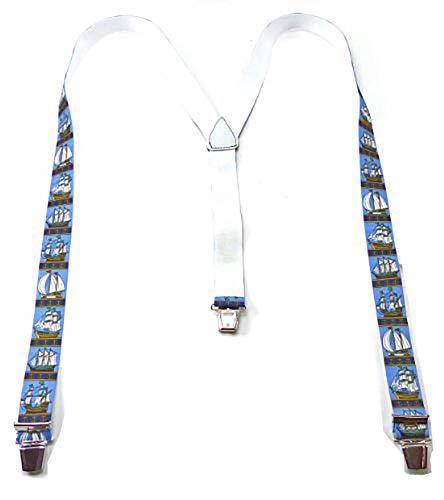 Evil Wear Seaside Pantalons porteur Pantalon Femme bretelles Top Marin pour porteur Navires Bleu clair 2531