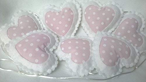 Pink and White Felt Polka Dot Love Heart Shaped Bedroom Accessory. Nursery Bunting Decoration. Baby Girl Bed Canopy Garland Room Decorations.