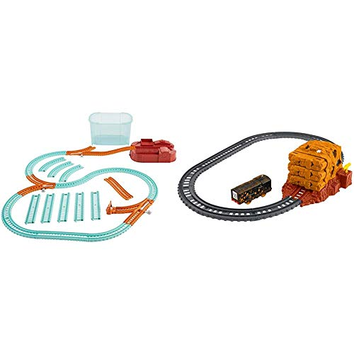 Thomas & Friends Trackmaster Builder Bucket, Storage Container with 25 Train Track and Play Pieces for Preschool Kids & Trackmaster, Tunnel Blast Set, Multicolor (FJK24)