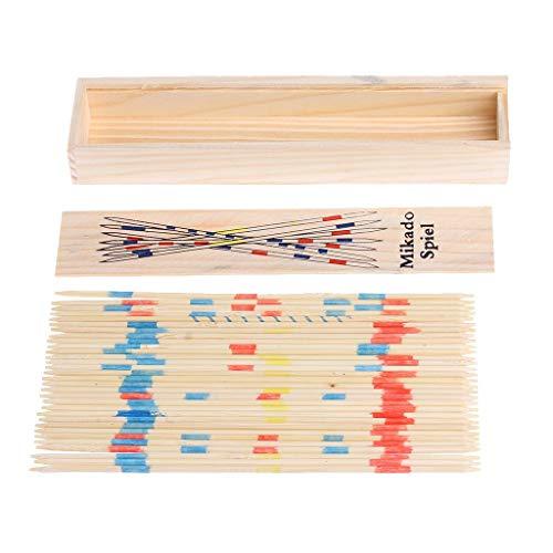 VektenxiTraditionelle Mikado Spiel Holz Pick Up Sticks Set traditionelles Spiel mit Box Spielzeug langlebig und nützlich