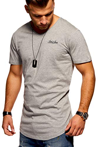 JACK & JONES Herren T-Shirt Kurzarmshirt Oversize Longshirt Basic V-Neck (Large, Light Grey Melange)