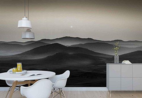 Vlies Fototapete Fotomural - Wandbild - Tapete - Gebirge Reichen Land Schwarz Und Weiß - Thema Berge - XL - 368cm x 254cm (BxH) - 4 Teilig - Gedrückt auf 130gsm Vlies - 1X-1349074V8