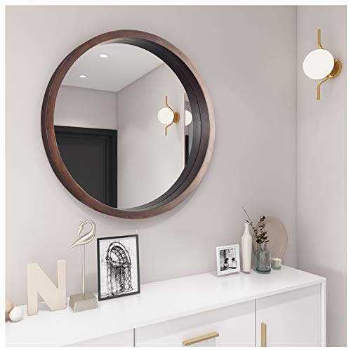 Specchio rotondo luminoso con cornice in legno, grande specchio da parete in vetro marrone, 61 cm, per bagno, camera da letto, spogliatoio o soggiorno