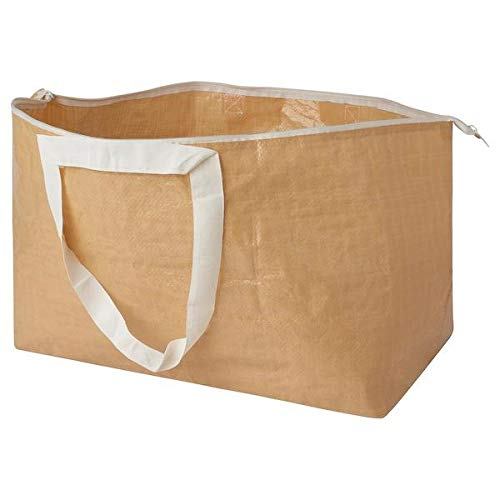 IKEA SLUKIS Carrier Bag, Large, beige71 l, This Carrier Bag with a Zipper Keeps Your Things Safely stored and Protected from dust. It is Also Easy to Carry Thanks to its Short and Long Handles.