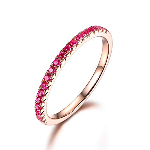 14k Solid Gold Genuine Natural Red Ruby Half Eternity Wedding Band Engagement Guard Ring Fine Jewelry Gifts for Women Girls Wife Girlfriend (ruby, 8)