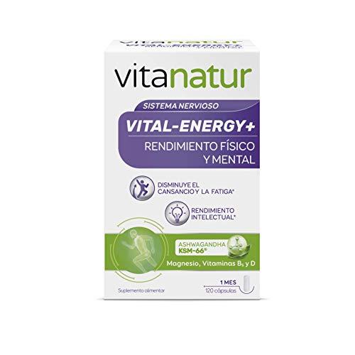 VITANATUR VITAL-ENERGY 120 Cápsulas - Complemento alimenticio a base de magnesio, ashwagandha y vitaminas B5 y D
