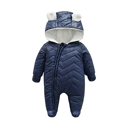 Yuwao Baby Overall Winter Schneeanzug mit Handschuhen Jungen Mädchen Warme Strampler mit Kapuze Langarm Reißverschluss Onesies Jumpsuit Pramsuit Neugeborene 0-3 Monate Blau