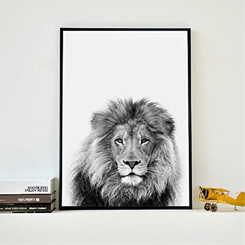 promociones de equipo blancoo y negro Animal Lion Art Art Art Deco Pintura de la Lona Cuadro Zoo Lion Poster Decoración Del Hogar marco 40x50 cm  Hay más marcas de productos de alta calidad.